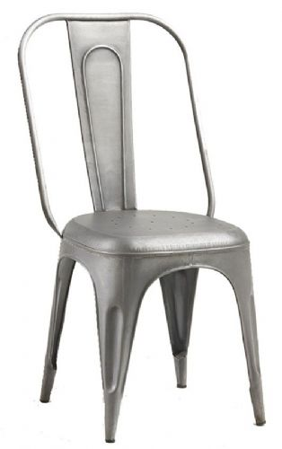 Pair of Grey Metal Dining Chairs